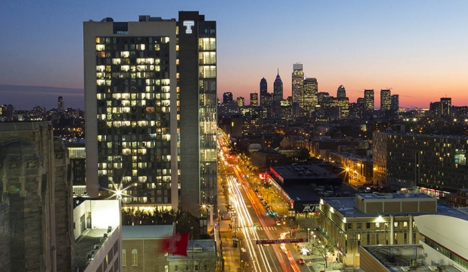 Temple University's Morgan Hall and the Philadelphia skyline