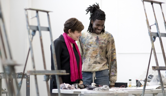 Tyler School of Art dean Susan E. Cahan meets with a student in one of Tyler's painting studios.