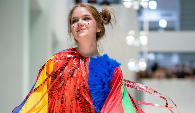 Tyler student Lauren Strailey on the runway at the 2019 Wearable Art Show.