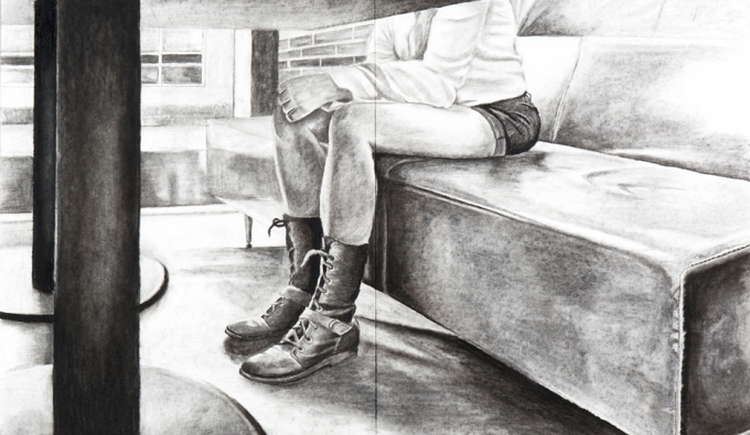 drawing of legs under table