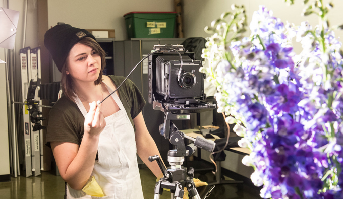 student working in photography studio