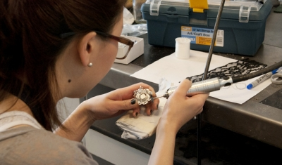 student working in senior major's facilities
