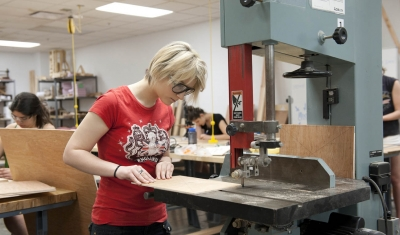 Visual Studies student in woodshop
