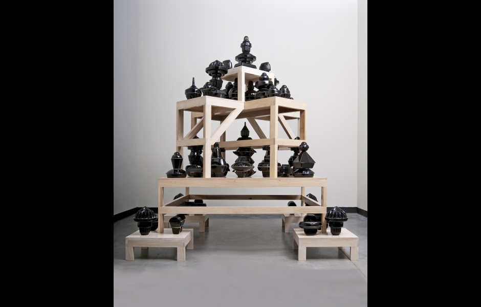 vessels on wooden shelving by Nick Kripal