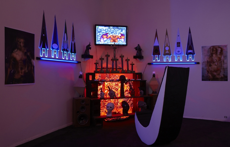 corner of dark room with colorful lights and vessels