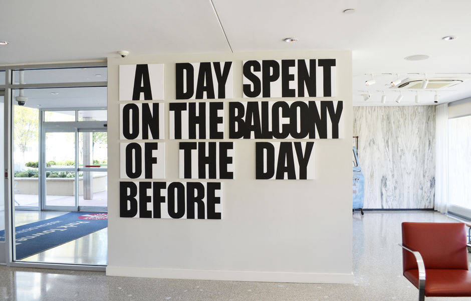 A Day Spent on the Balcony of the Day Before, 2018, latex on canvas, 6' x 10' (multi-panel installation) by Buy Shaver