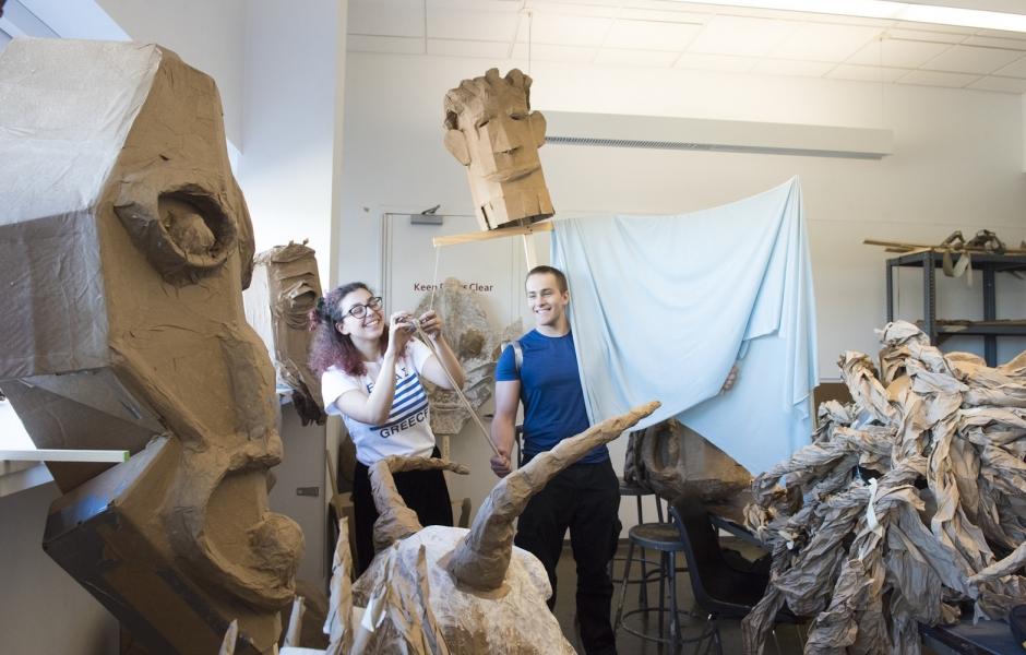 3D students in studio.