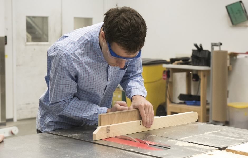 Student working in wood shop.