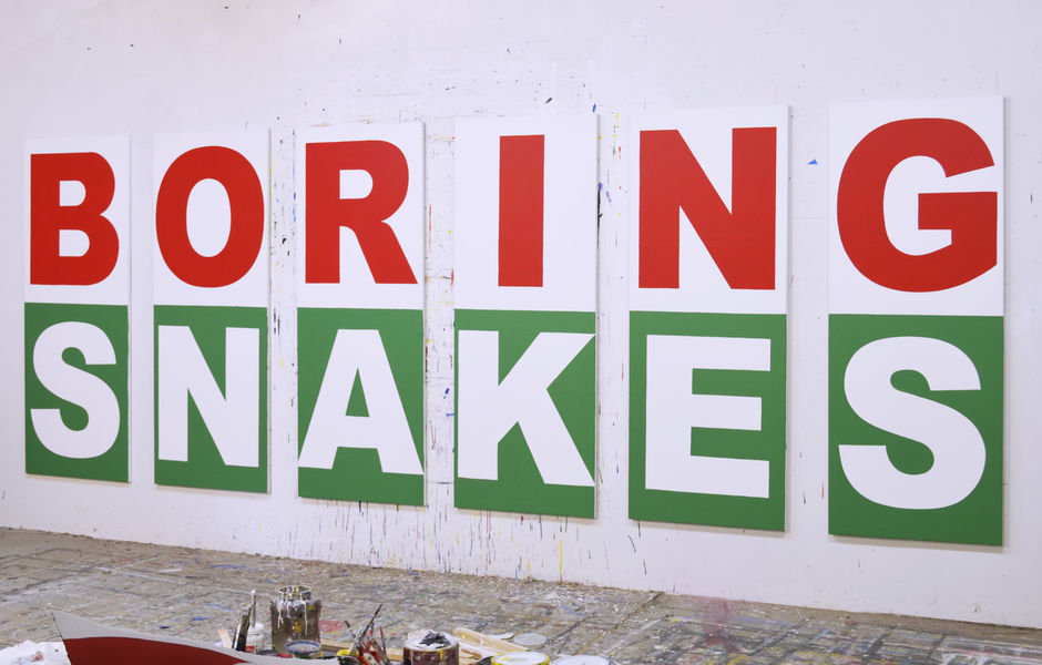 "Boring Snakes, 2019, latex and acrylic on canvas 65"" x 180"" (multi-panel installation) by Buy Shaver"
