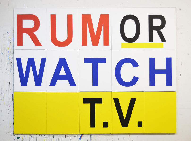 "Rum or Watch T.V., 2019, latex and acrylic on canvas, 70"" x 91.5"" (multi-panel installation) by Buy Shaver"
