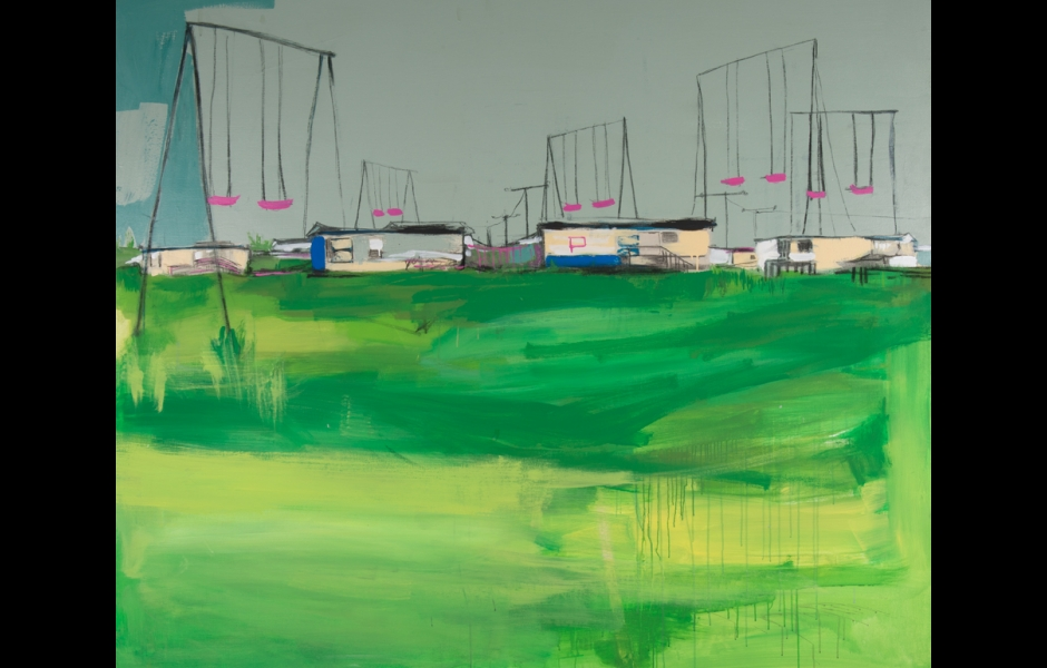 painting of pink swings