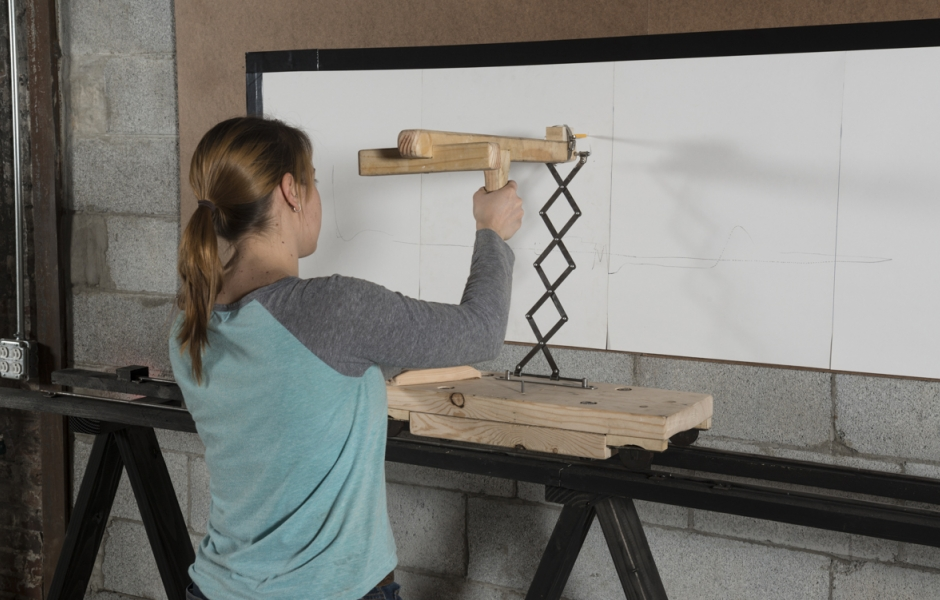 drawing machine in use