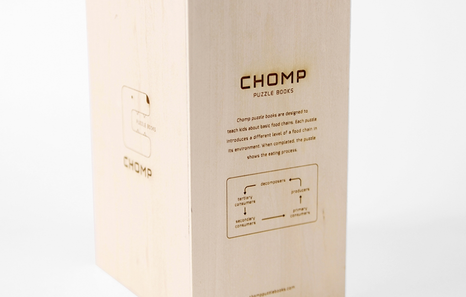 Chomp puzzle book packaging