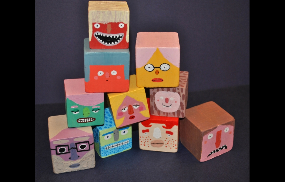 painted block sculptures
