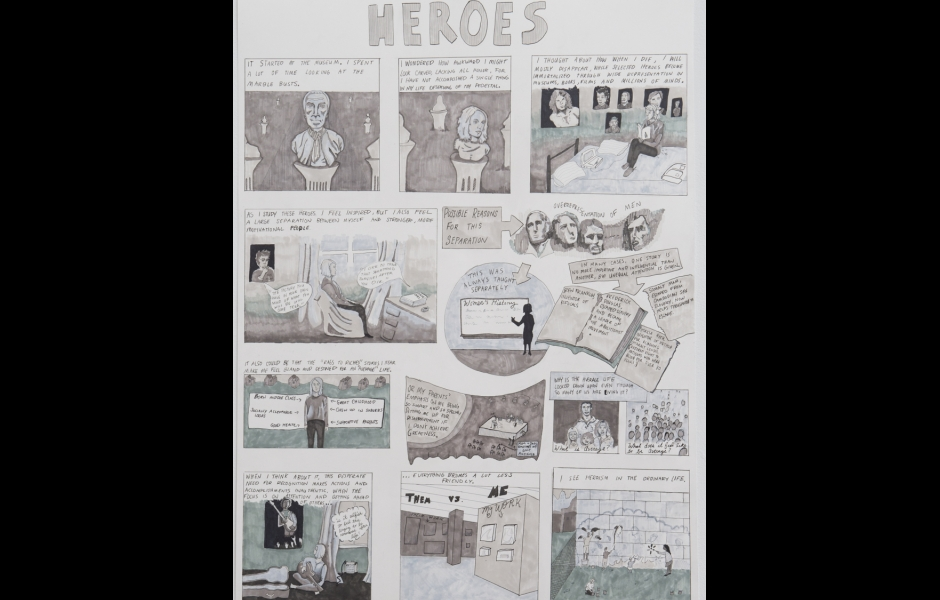 Black and white hand-drawn comic about the gap between the artist and historical heroes.