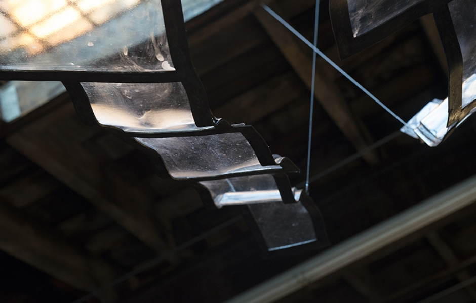 detail of glass and steel structure