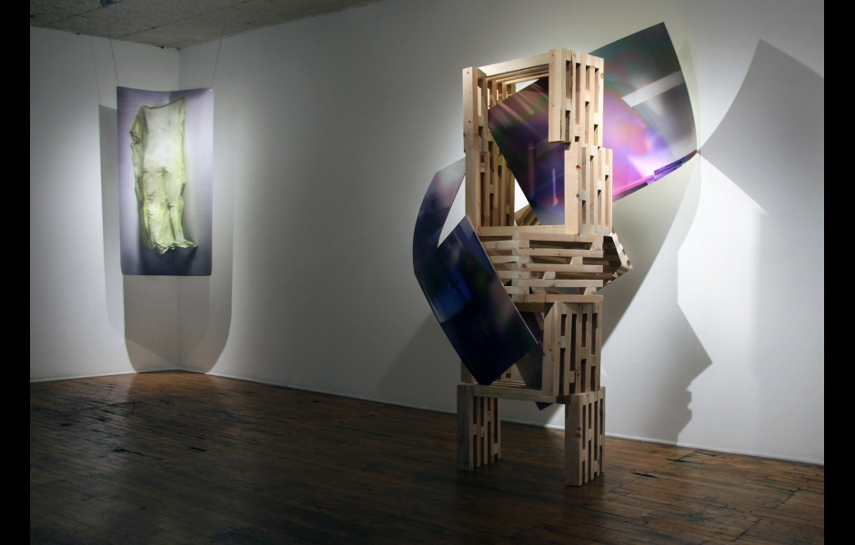 art installation with wood and fabric