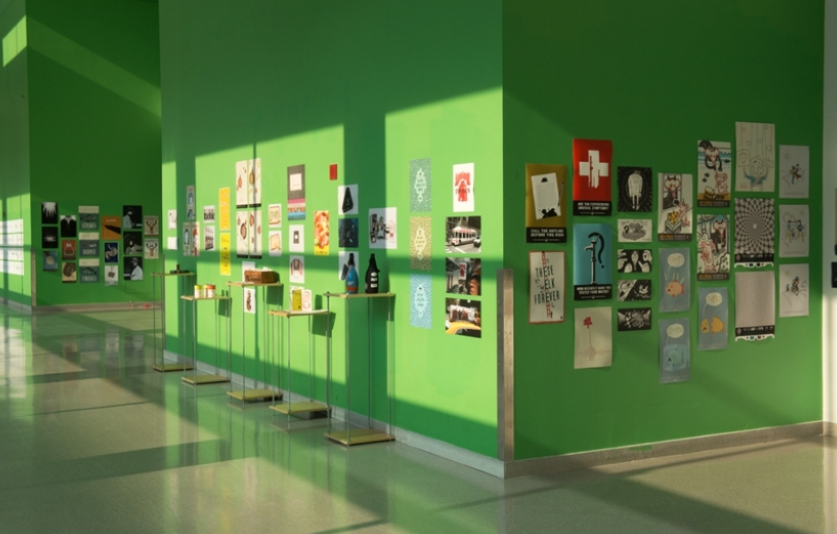 Sr. Design Exhibition in green hallway
