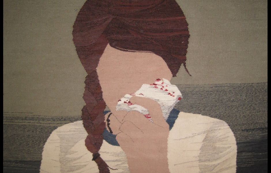 embroidered girl with tissue