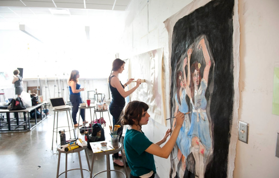 female students painting
