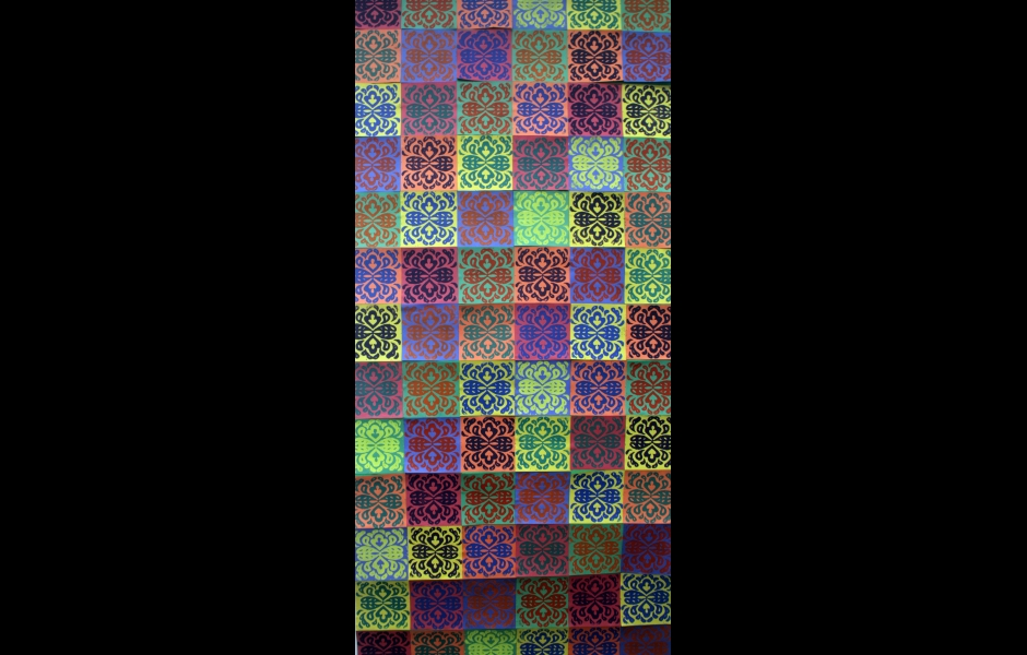 a neon-colored quilt pattern