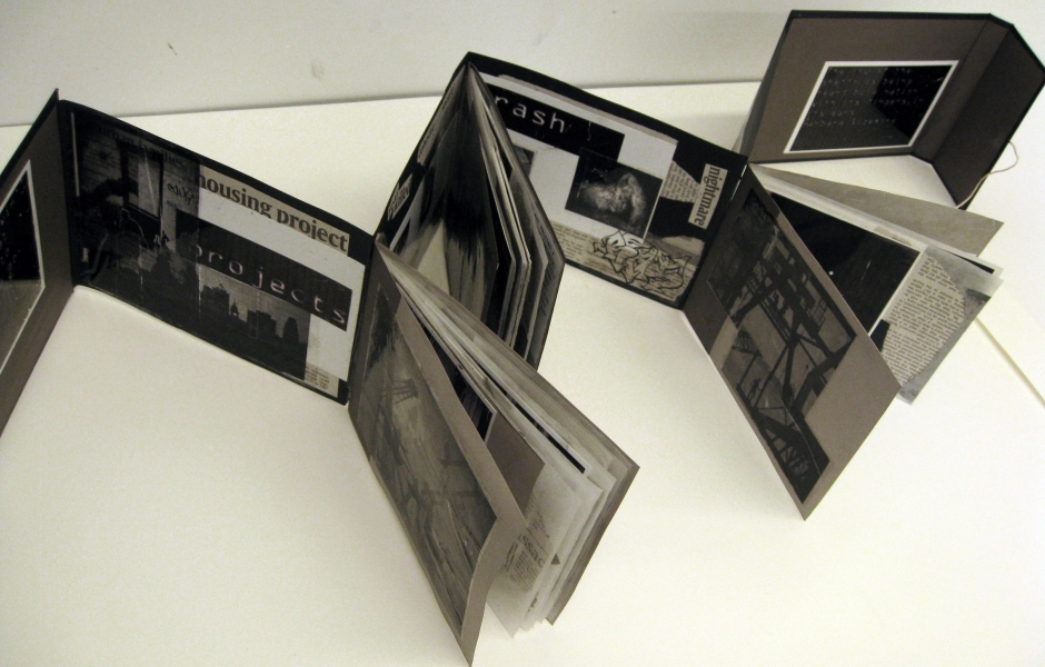 a black-and-white folded book