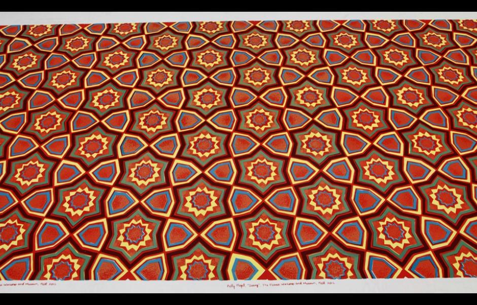 patterned silkscreened fabric