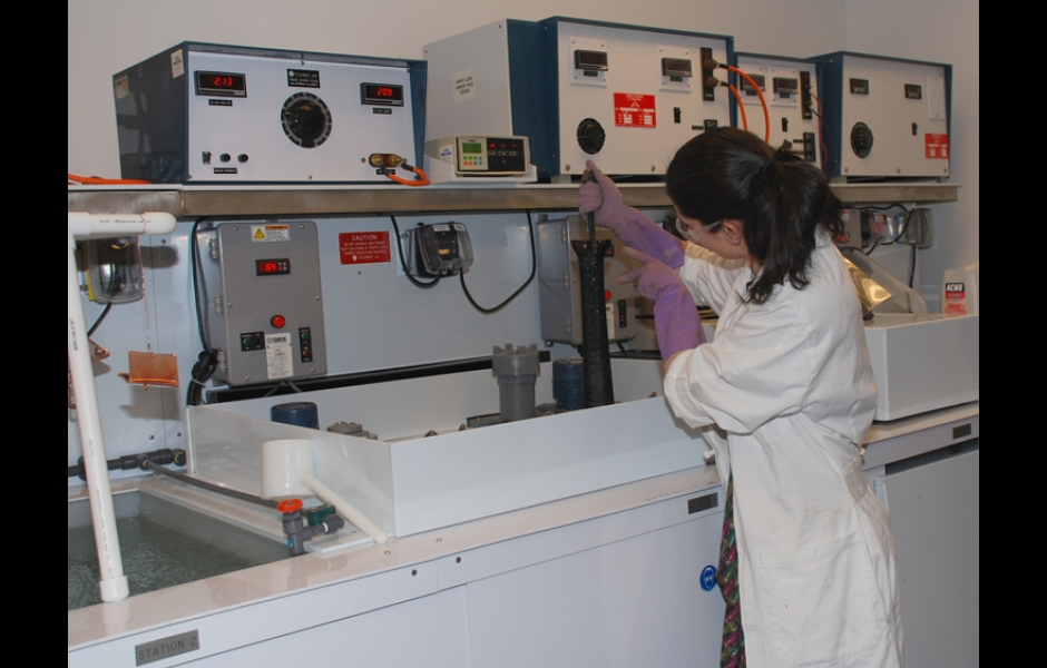 student working in electroforming lab