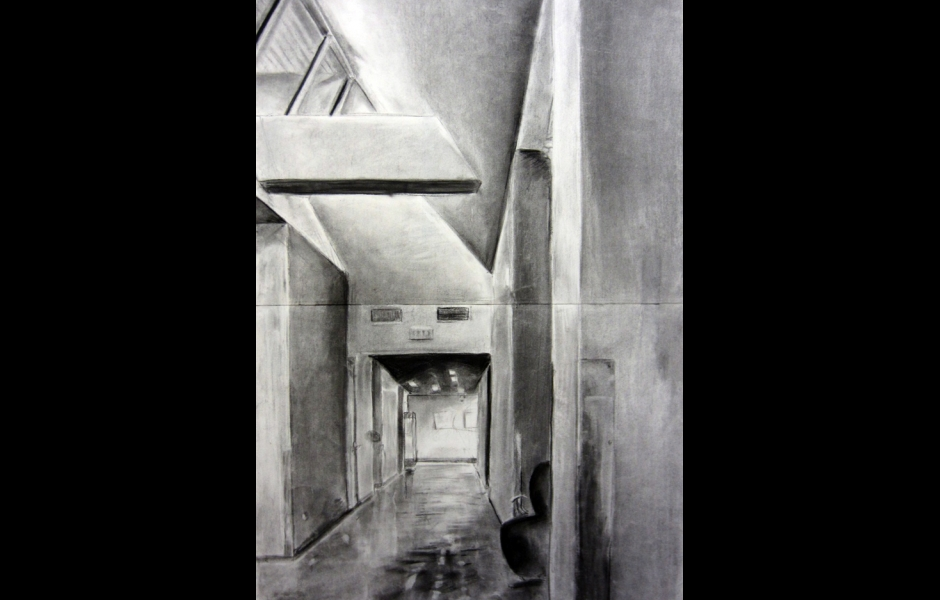 A drawing of a hallway in the Tyler school of art