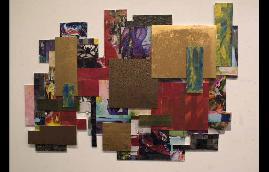 a collage of a multi-color quilt