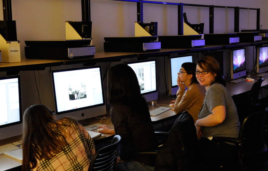 students in printmaking computer lab