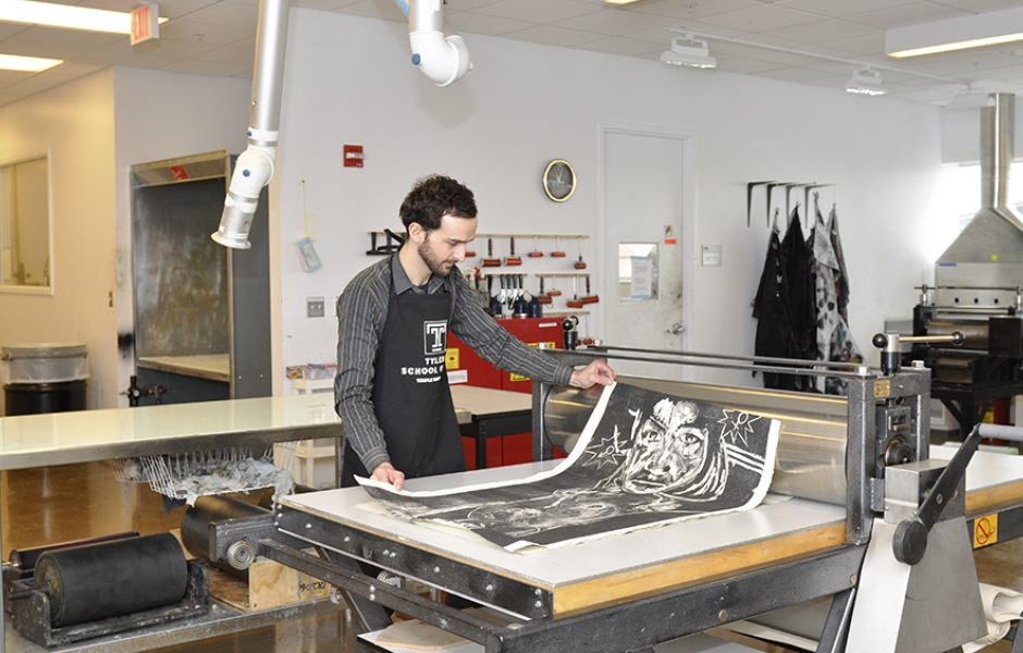 work being done in printmaking lab