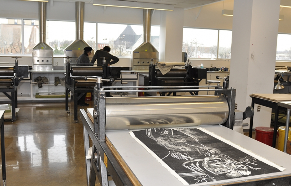 printmaking machinery in lab