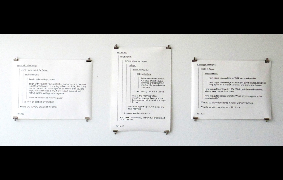 Large digital print of user comment thread discussing changes in education over generations.