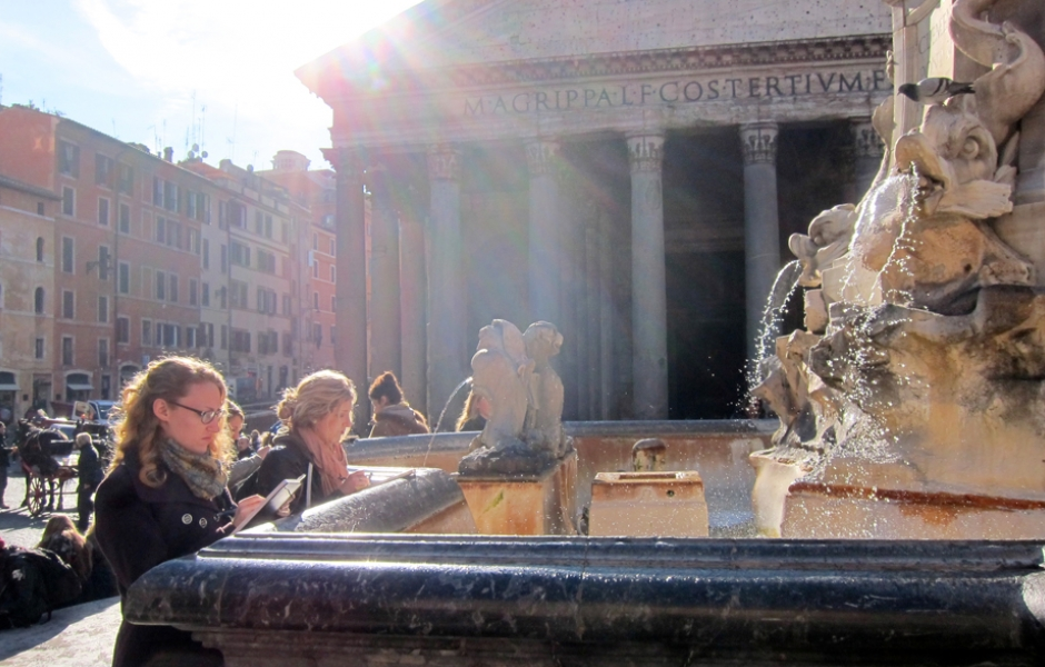 students drawing in front of Trevi Fountain