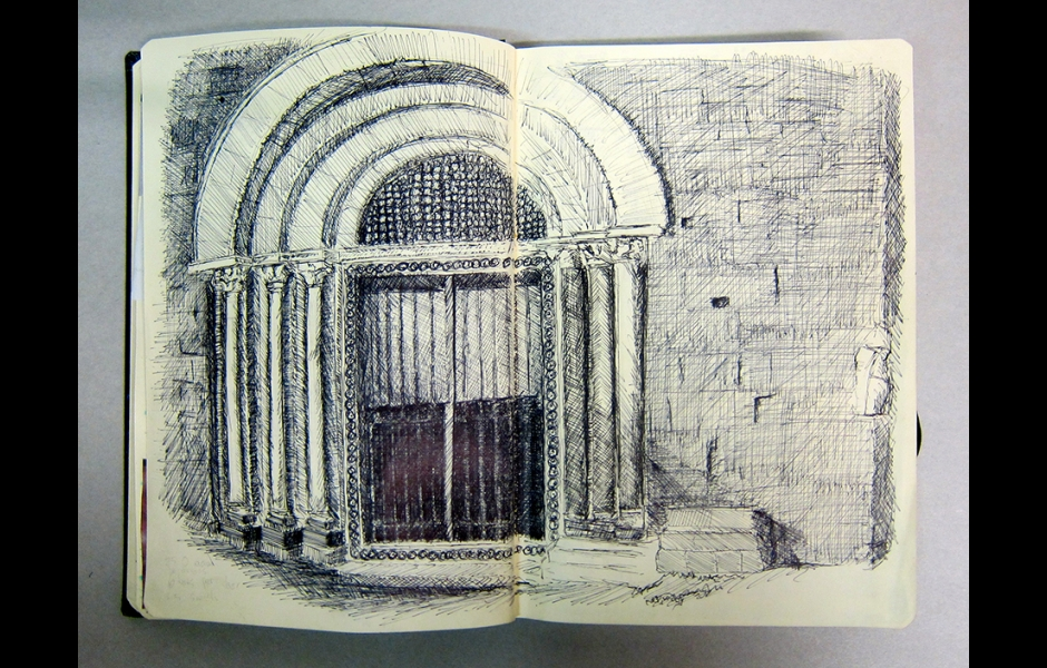 detail of student sketchbook