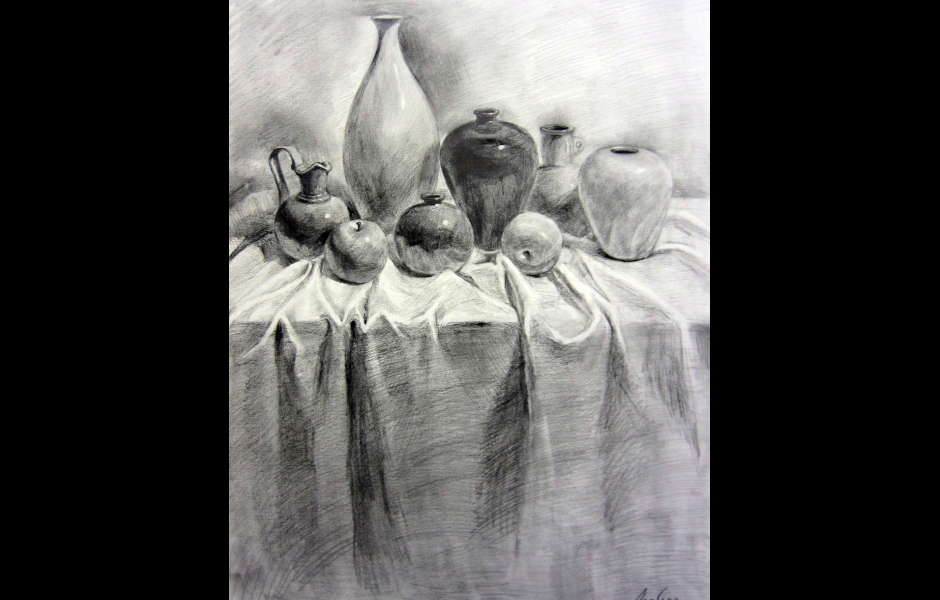 A still-life drawing of vases on a table