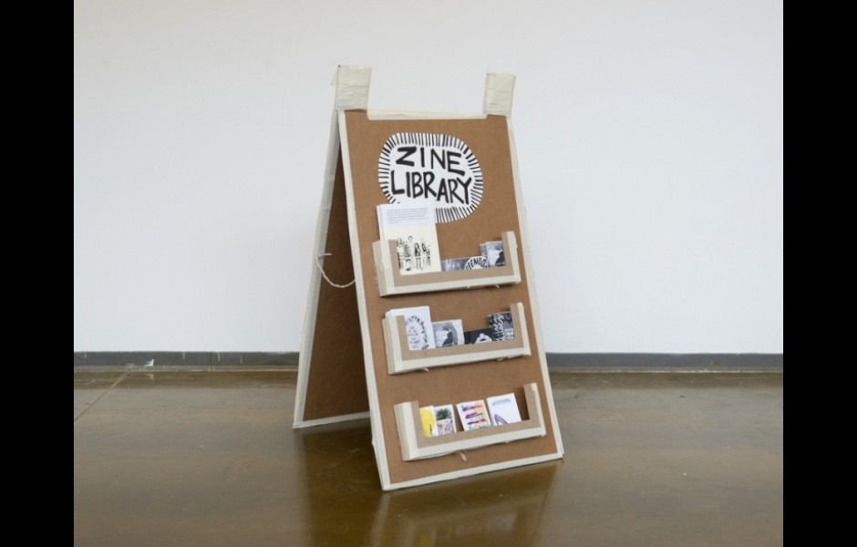Sandwich board Style Zine Library and display