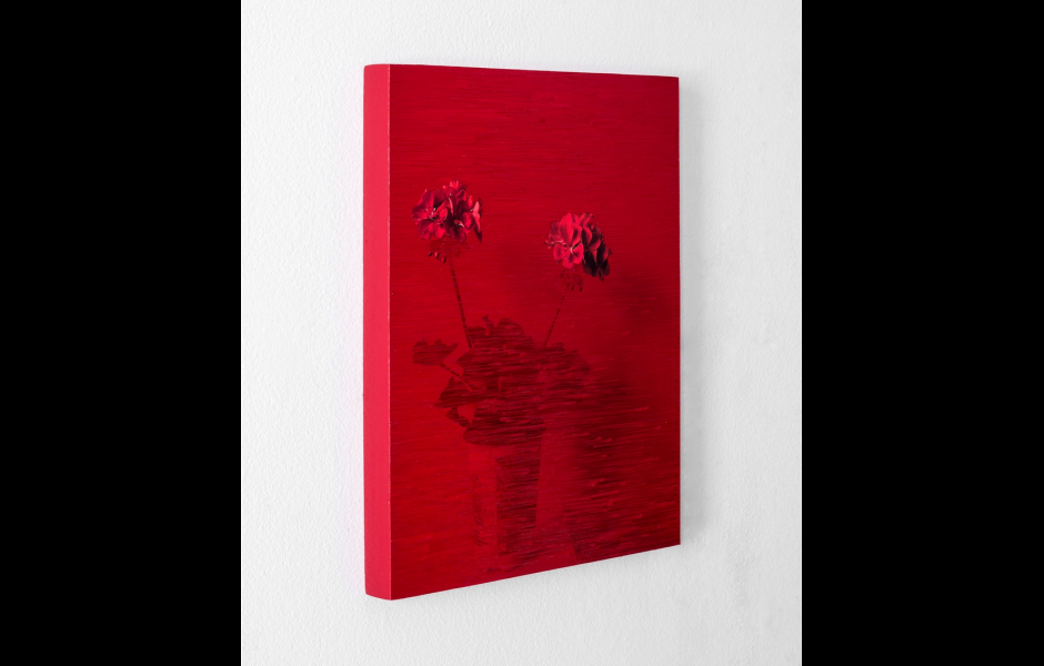 Red canvas with flowers