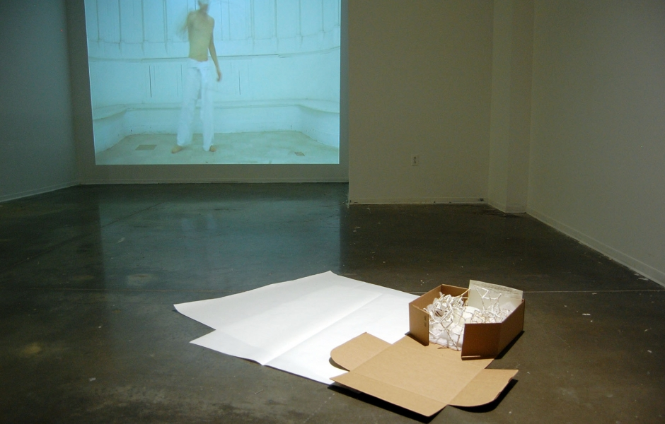 Installation shot of work by Amanda McCavour and Liza Buzytsky