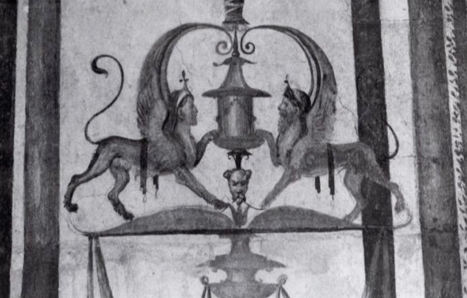 Maarten van Heemskerck, Sphinx with Grotteschi and Ornament, c. 1535, Brown Ink. Berlin, SMBPK Kupferstichkabinett: Sketchbook I, fol. 24 v