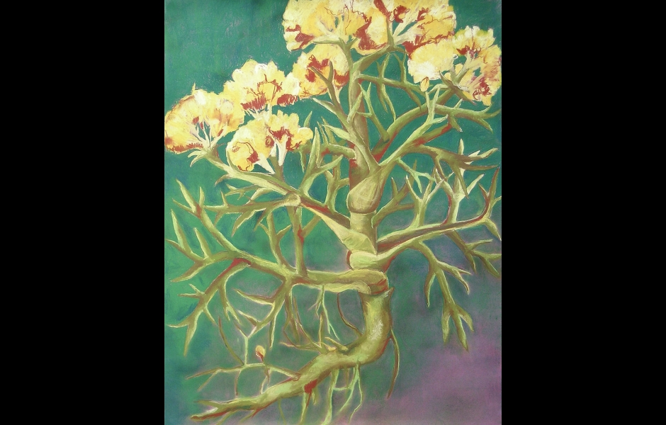 A pastel drawing of flowers
