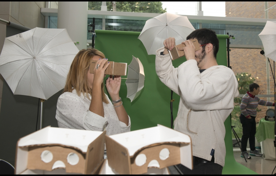Student with stereoscopic viewers