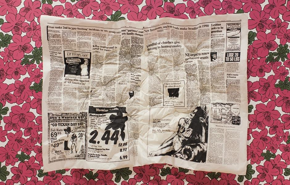 big tufted newspaper on floral background