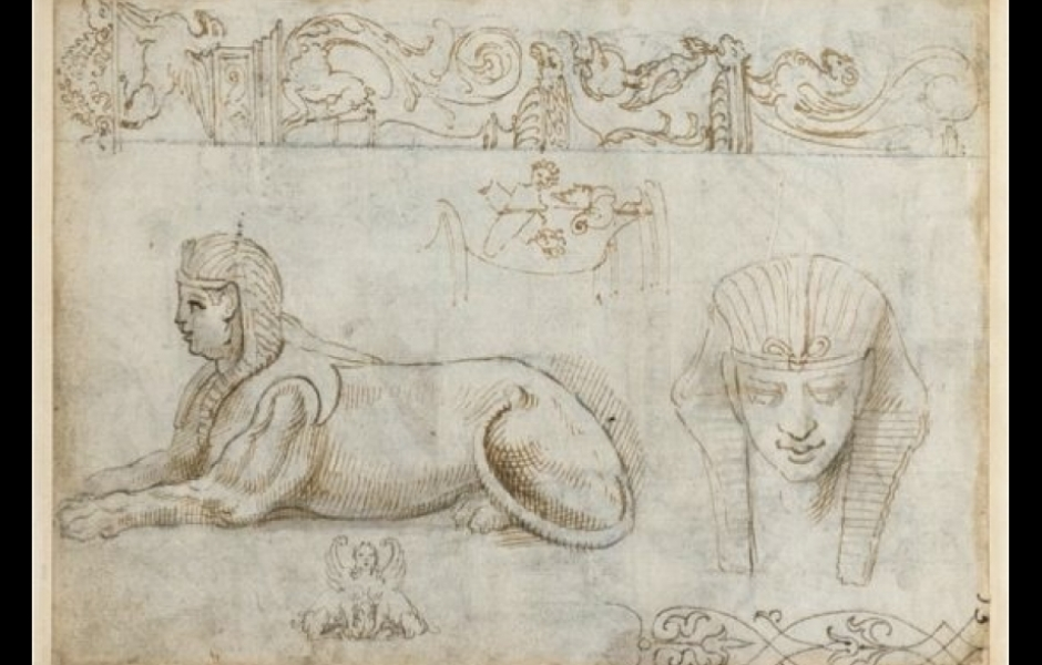 Giovanni Colonna da Tivoli (?), The Capitoline Sphinx, c. 1554, Pen and Wash. Rome, Vatican City, BAV: Vat. lat. 7721, fol. 16 v