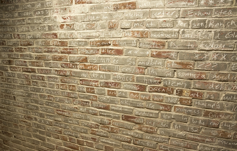 text written with chalk on brick wall