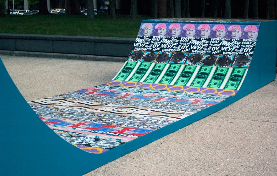 printed posters on skate board ramp