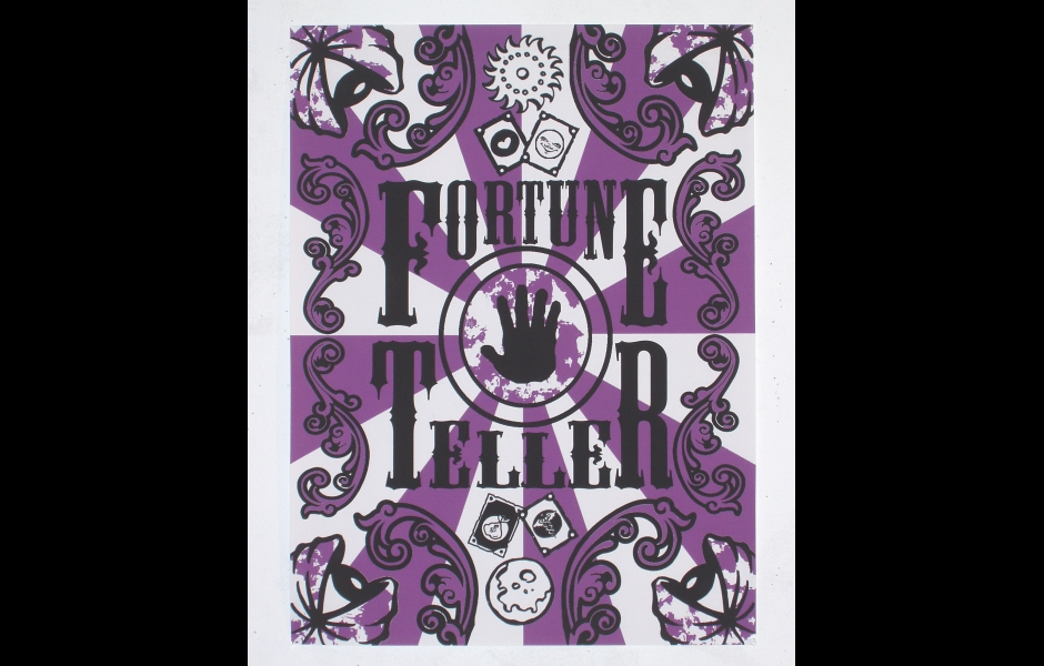 a digital print in purple and white