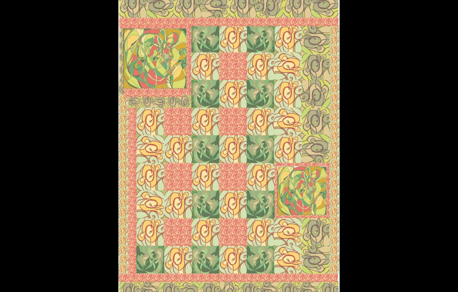 a pastel-colored quilt pattern