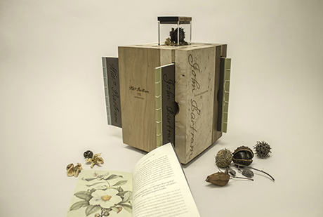 Box set of books and specimens from Bartram's garden